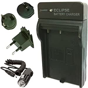 PENTAX D-LI78, DLI78, DLi78 Chargeur de batterie pour Pentax Optio L50, L60, M50, V20, W60, etc. avec Euro UK USA Voyage Plugs et AC Car Adapter