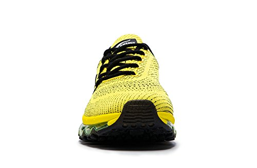 Onemix Homme Air Baskets Course Gym Fitness Sport Chaussures Noir jaune