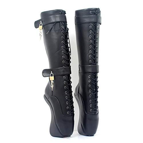 COSY-L Damen Schnüren Keil Sexy High Heel Platform Ankle Bootie Lace Up Verschluss Schnalle Pumps SM Ballettkönigin Stiefel Unisex,Black,46EU/15US -