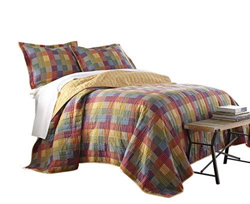 Sterling Creek Monaco 3-teilig Vintage Rustikal Patchwork 100% -cotton Quilt Set, baumwolle, Red, Blue, Green, Yellow, Orange, Twin (Ocean Tröster Set Königin)