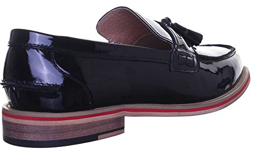 Reece Justin Denver-High Shine d'universitaire Loafer Loafer à enfiler Noir - Black Patent EK