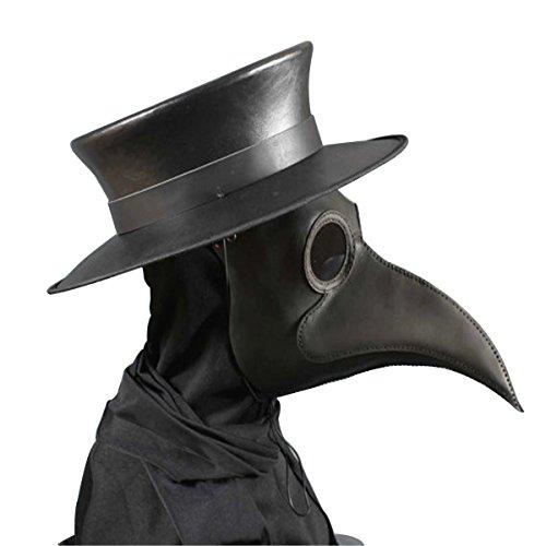 Huntfgold Schnabelmaske Pest Arzt Maske Vögel Schwarz Lange Nase Steampunk Maske
