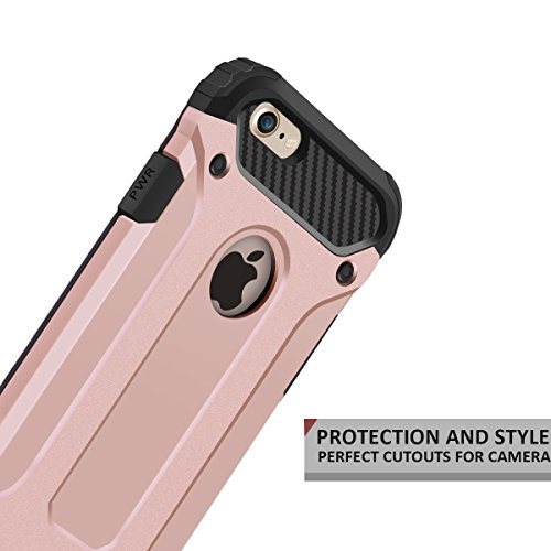 Cover iPhone 7, Custodia iPhone 7, Coolden Hybrid Tough Rugged Dual Layer Armor iPhone 7 Protezione Soft TPU Bumper Cover PC Rigida Heavy Duty Protettiva Cover Custodia per iPhone 7 (2016) - Rosso Oro Rosa