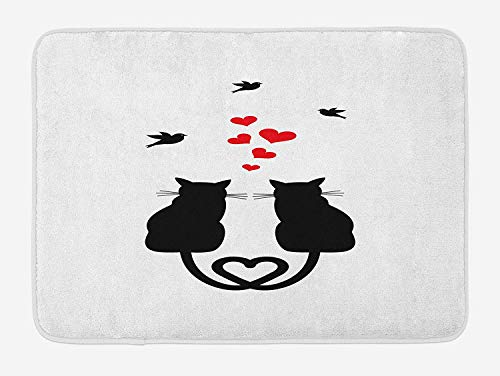 tgyew Love Bath Mat, Cats in Love with Heart Shaped Tails Birds Animal Silhouettes Valentines Theme, Plush Bathroom Decor Mat with Non Slip Backing, 23.6 W X 15.7 W Inches, Red Black White - Black Lab-frame