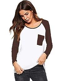 Beluring Bluse Damen Langarm Baseball Shirt Farbblock Casual Tunika Tops 39d49916e5