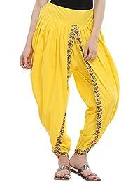 Nika Women's Cotton Aari Embroidered Dhoti Salwar by Kaanchie Nanggia (DH933_Yellow_Freesize)