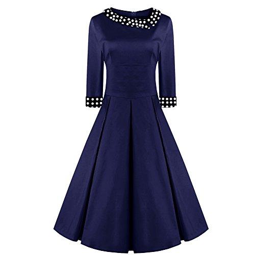 Là Vestmon Vintage Retro Rockability Kleid gepunktetes Reverskleid Kleider