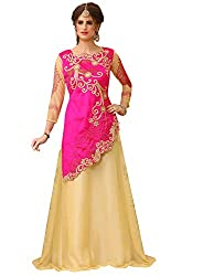 TexStile Womens Velvet & Net Semi-Stitched Lehenga Choli(Zoya_Multi color_Free Size)