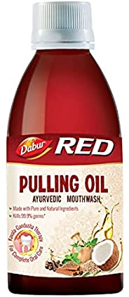Dabur Red Pulling Oil : Ayurvedic Mouthwash – Kavala Gandusha Therapy   Oral Detox for Teeth and Gums