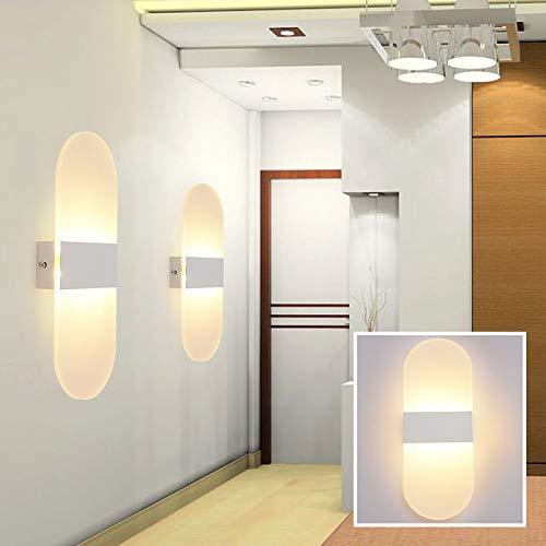 Applique da parete a led su per il cubo indoor outdoor camera sconce decor camera da letto hotel, ovale-bianco caldo-bianco al, 14x6cm 3w