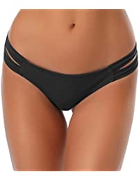 SHEKINI Damen Low Waist Bikini Unterteil Tanga Bikinihose String Cut Out Brazilian Bikini Slip