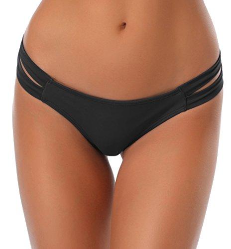 SHEKINI Damen Niedrige Taille Bikini Bottom Bademode Tanga Bikinihose String Rüschen Brazilian Bikini Slip (S, Schwarz)