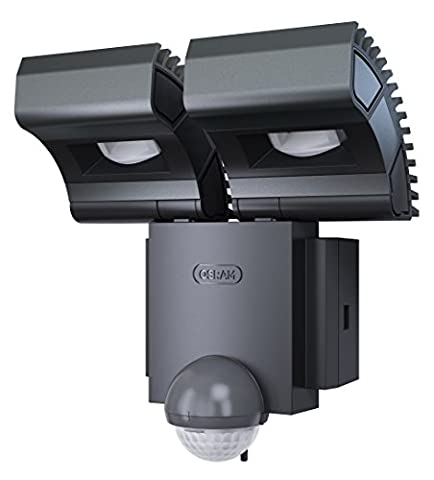 OSRAM Noxlite Spot LED Outdoor Wall Luminaire with Motion Detector and Dusk Sensor, Daylight, 18 W, 6000