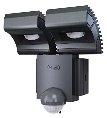 Osram LED Spot, Noxlite, Außenlampe, Außenstrahler 60° schwenkbar und 70 ° kippbar, Bewegungsmelder, Dämmerungssensor, anthrazit, Kaltweiß- 6000K, duo