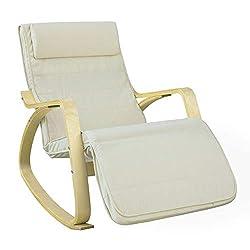 SoBuy® FST16-W Schaukelstuhl (verstellbares Fussteil) Schwingsessel Relaxsessel beige