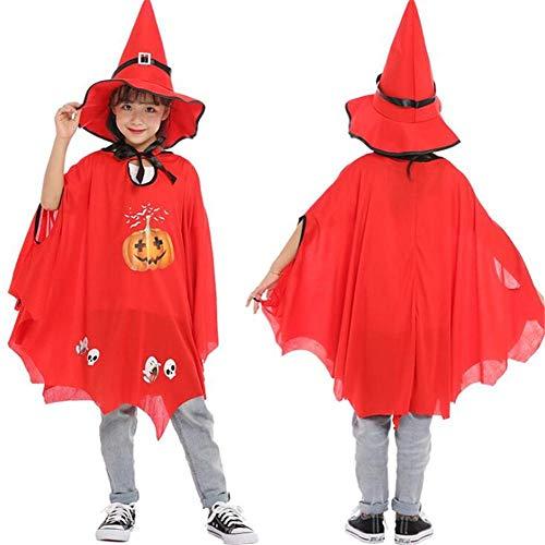 Hexe Kostüm Muster Niedliche - DIVISTAR Halloween Cosplay Mantel für Mädchen Jungen Kinder Cape Hut Hexe Wizard Kostüm Kürbis Muster Verkleidung Zubehör Karneval Prop