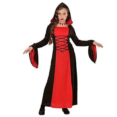 Widmann 73228 - Kinderkostüm Gothic Lady, Kleid mit Kapuze, Größe 158, rot