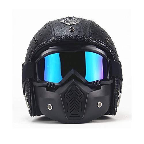 Peggy Gu Helm Brille Handgemachte Persönlichkeit Retro Motorradhelme mit UV-Anti-Fog-Schutzbrille Harley Helm ATV Dirt Bike Helm für Erwachsene Frauen und Männer Schutzbrille