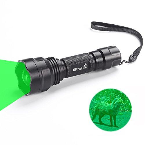 Ultrafire GRÜN-LICHT Taktische Taschenlampe LED Jagd Taschenlampe Zoomable 283 Lumens 520-535 nm Wellenlänge,UF-1505G,Fokus Einstellbar Wasserdicht Grün Taschenlampe Outdoor (Grünes Licht Taschenlampe)