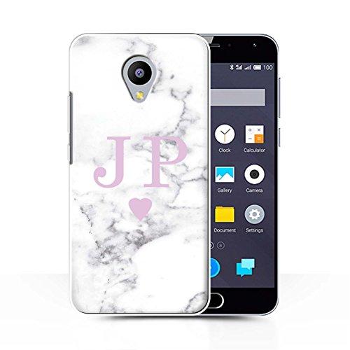 Stuff4® Personalisiert Weiß Marmor Mode Hülle für Meizu M2 Note/Solide Rosa Herz Design/Initiale/Name/Text Schutzhülle/Case/Etui