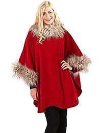 Ladies Cape Boutique Womens One Size Faux Fur Trim Shawl Wrap Poncho Coat