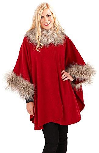 Femmes Cape Boutique Femmes Taille Unique Bord Fausse Fourrure Châle Enveloppant Poncho Manteau Red Écharpe