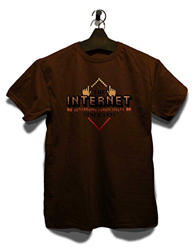 Internet Destroying Productivity T-Shirt Braun