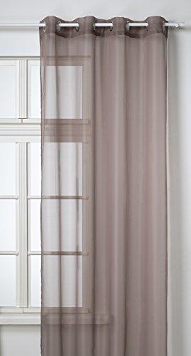 Douceur d'intérieur 1621393 - Tenda Voile con Occhielli in Metallo, 140 x 240 cm, Colore: Tortora