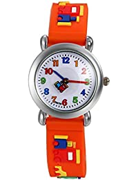 Lancardo Reloj Analógico de Cuarzo Correa de Silicona Dibujos de Bloque de Construcción Pulsera con Dial de Números Árabes de Multicolor Impermeable de 1ATM para Niño Niña Chicos (Naranja)