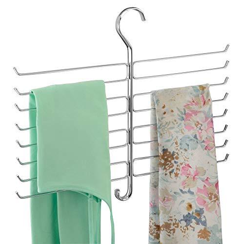 mDesign Kleiderschrank Organizer für Accessoires, Krawatten, Schals, Handtaschen - Halterung zur Aufbewahrung von Kleidung - Chromfarben -