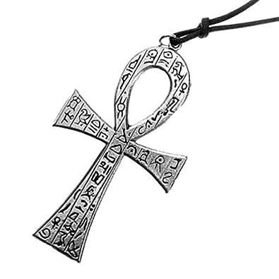 Grand pendentif croix Ankh, Ankh hiéroglyphe, bracelet en cuir