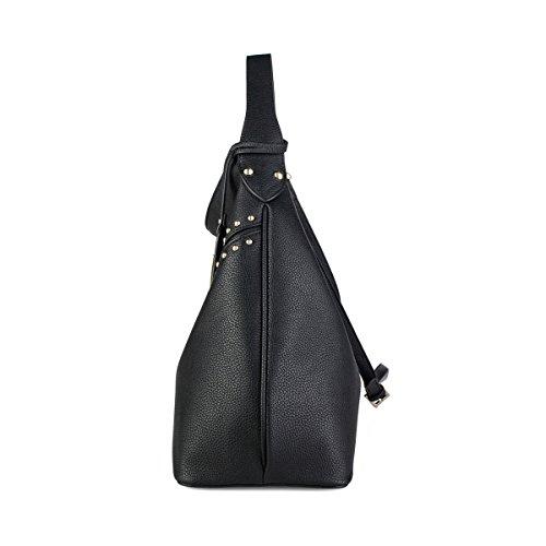 La Clé , Sac pour femme à porter à l'épaule Noir noir moyen noir