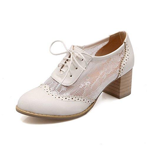 AllhqFashion Femme Pu Cuir à Talon Correct Rond Couleur Unie Lacet Chaussures Légeres Blanc