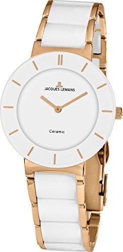 Jacques Lemans Damen Analog Quarz Uhr mit Keramik Armband 1-1866D