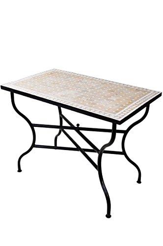 ORIGINAL Marokkanischer Mosaiktisch Gartentisch 120x80cm Groß eckig klappbar   Eckiger klappbarer Mosaik Esstisch Mediterran   als Klapptisch für Balkon oder Garten   Marrakesch Natur Weiß 120x80cm