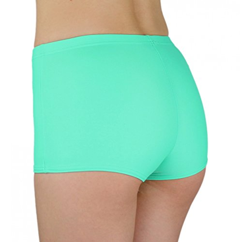 Aquarti Damen Badeshorts Hotpants Unifarben Gemustert Seladongrün