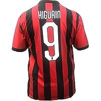 Camiseta Jersey Futbol A.C. Milan Gonzalo Higuain Replica Oficial Autorizado 2018-2019 Niños (2,4,6,8,10,12 año) Adultos (Small, Medium, Large, Xlarge) (Talla 12 Años)