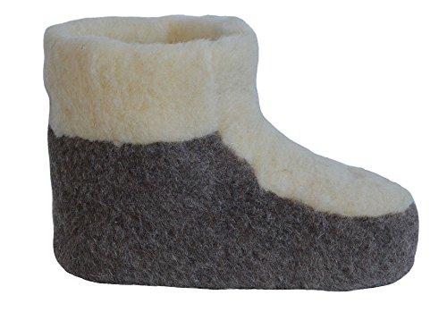 SamWo, Schafwoll-Wohlfühl-Hausschuh/Pantoffeln Fußwärmer unisex, weiche rutschfeste Sohle, Floor 100% Merinowolle wollweiß/braun, Größe: 37-38 br/w