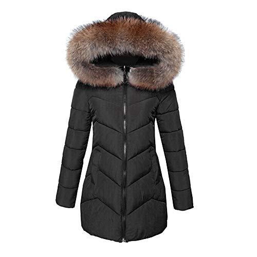 (Quaan Frau Outwear, Winter Warm Faux Pelz Mantel Mit Kapuze Dick Warm Schlank Lange Jacke Mantel Sweatshirt Baumwolle Mantel Jacke Groß Größe Baseball Mantel)