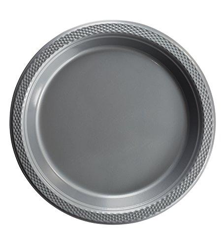 Exquisite Kunststoff Dessert/Salat Teller–Farbe Einweg Teller–100Zählen, plastik, silber, 9 Inch.