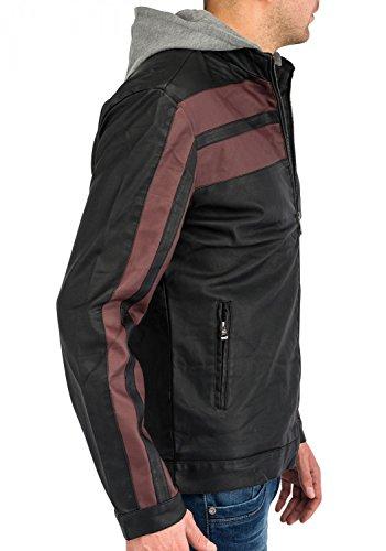 Herren Leder-Jacke · (Regular Fit) mit Racing Streifen Design aus Kunstleder mit Stehkragen und abnehmbarer Kapuze, leicht gefüttert · H1592 in Markenqualität Blau