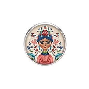 Edelstahl Brosche, Durchmesser 25mm, Stift 0,7mm, handgemachte Illustration Frida Feminist 2