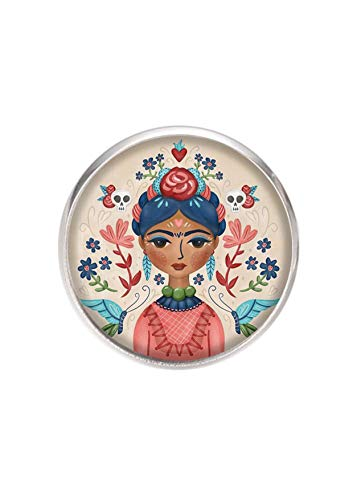 Broche de Acero, Diametro 25mm, pin 0,7mm, Hecho a Mano Ilustración Frida Feminist
