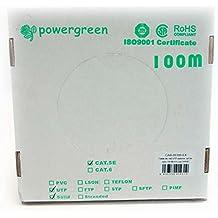 Powergreen - Bobina de cable cat 5e utp 100 metros exterior rigido caja 24awg