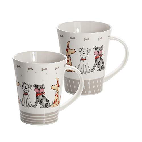 SPOTTED DOG GIFT COMPANY Hund Kaffeebecher Tassen Set 2 Lustig Hunde Kaffeetasse Teebecher Teetassen Keramik Porzellan Hundemotiv Geschenk für Hundeliebhaber Geschenke Hundebesitzer und Hundefreunde