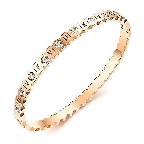 Frauen Rose Gold Cz Inlay Armband Classic Römische Zahl Schönes Armband