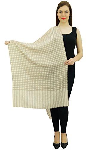 Femmes Châle Cachemire Col Écharpe De Soie Étole Tête Envelopper Écharpe Hijab Blanc cassé et beige