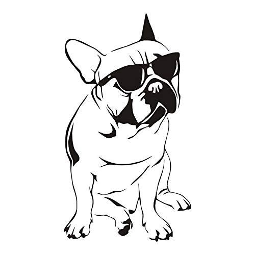Wandaufkleber, Art Decal Decor Poster Poster Lustiges Tier Französische Bulldogge Mit Sonnenbrille Vinylwand 57x32cm