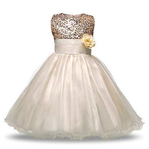 LSHEL Mädchen Prinzessin Kostüm Paillette Blume Brautjungfer Blumenmädchen Kleid, Gold, 134/140(Label:140) (Gold-pailletten Blumenmädchen Kleid)