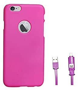 Chevron Hard Back Cover Case for Apple iPhone 6S with 2 In 1 Data Cable (Micro USB & Lighting) (Deep Pink)